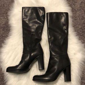 Prada Black Leather Knee High Boots Size 9